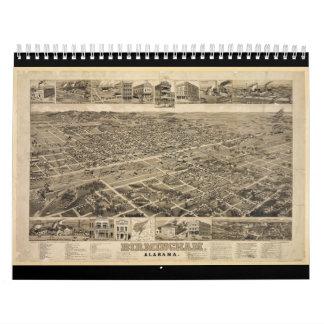 Bird's Eye View of Birmingham Alabama in 1885 Calendars