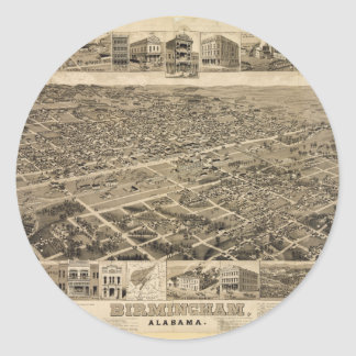 Bird's Eye View of Birmingham Alabama in 1885 Classic Round Sticker