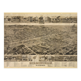 Bird's Eye View of Birmingham Alabama in 1885 Post Cards