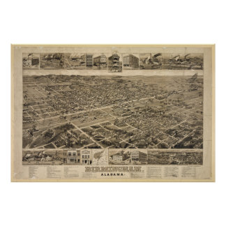 Bird's Eye View of Birmingham Alabama in 1885 Poster