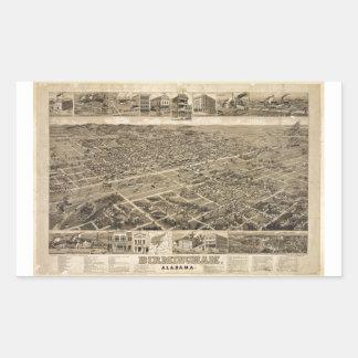 Bird's Eye View of Birmingham Alabama in 1885 Rectangle Stickers