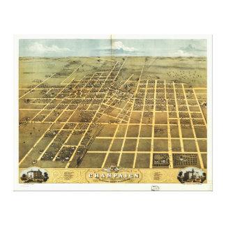 Bird's Eye View of Champaign Illinois (1869) Canvas Print