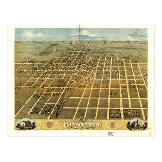 Bird's Eye View of Champaign Illinois (1869) Postcard