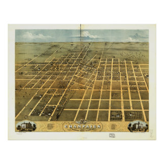 Bird's Eye View of Champaign Illinois (1869) Poster