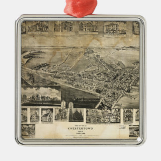 Bird's Eye View of Chestertown, Maryland (1907) Metal Ornament