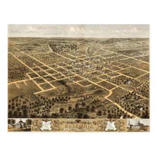 Bird's eye view of Columbia, Missouri (1869) Postcard