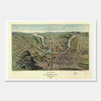 Bird's eye view of Cumberland Maryland (1906) Yard Sign