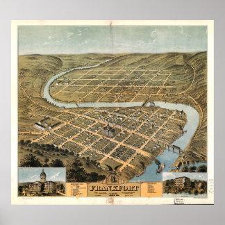 Bird's eye view of Frankfort, Kentucky (1871) Poster