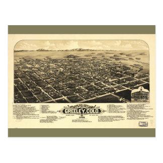 Bird's eye view of Greeley Colorado (1882) Postcard