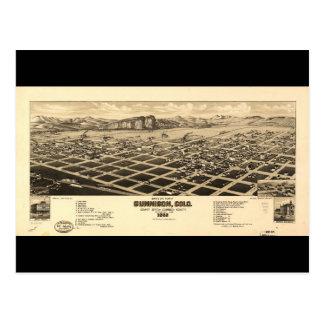 Bird's eye view of Gunnison Colorado (1882) Postcard