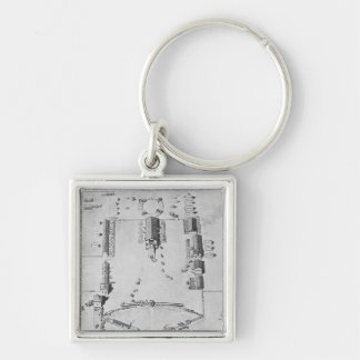 Bird's-eye view of ideal plantation buildings keychain