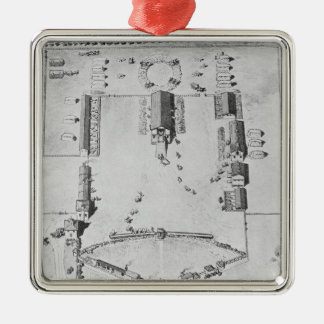 Bird's-eye view of ideal plantation buildings metal ornament