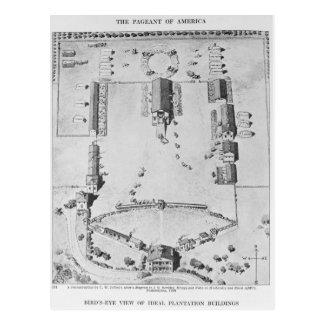 Bird's-eye view of ideal plantation buildings postcard