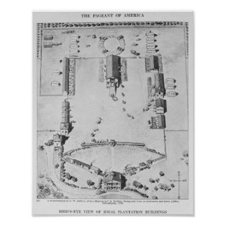 Bird's-eye view of ideal plantation buildings poster
