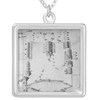Bird's-eye view of ideal plantation buildings silver plated necklace