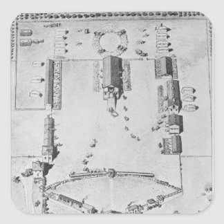 Bird's-eye view of ideal plantation buildings square sticker