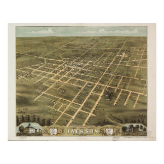 Bird's Eye View of Jackson, Tennessee (1870) Poster