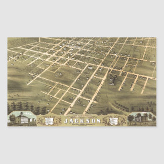 Bird's Eye View of Jackson, Tennessee (1870) Rectangular Sticker