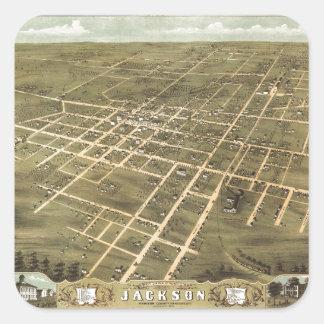 Bird's Eye View of Jackson, Tennessee (1870) Square Sticker