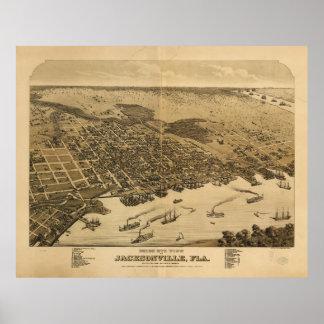 Birds eye view of Jacksonville Florida (1876) Poster