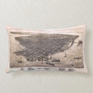 Bird's Eye View of Key West, Florida (1884) Lumbar Pillow