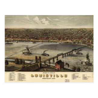 Bird's eye view of Louisville, Kentucky (1876) Postcard