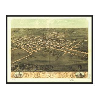 Bird's Eye View of Marion Linn County Iowa (1868) Canvas Print