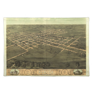 Bird's Eye View of Marion Linn County Iowa (1868) Placemat