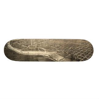 Bird's Eye View of Merrill Wisconsin (1883) Skateboard Deck