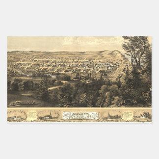 Bird's Eye View of Michigan City, Indiana (1869) Rectangular Sticker