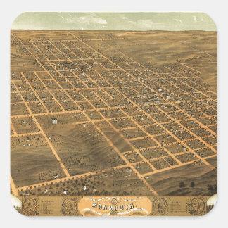 Bird's Eye View of Monmouth, Illinois (1869) Square Sticker