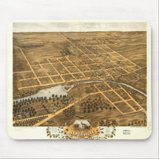 Bird's Eye View of Naperville Illinois (1869) Mouse Pad