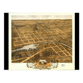 Bird's Eye View of Naperville Illinois (1869) Postcard