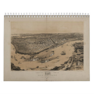 Birds' eye view of New Orleans from 1851 Calendar