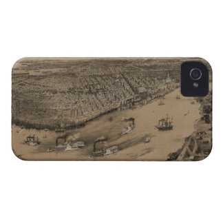 Birds' eye view of New Orleans from 1851 iPhone 4 Covers