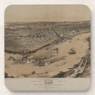 Birds' eye view of New Orleans from 1851 Drink Coaster