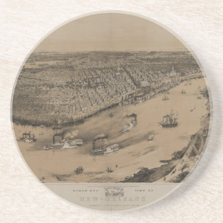 Birds' eye view of New Orleans from 1851 Sandstone Coaster
