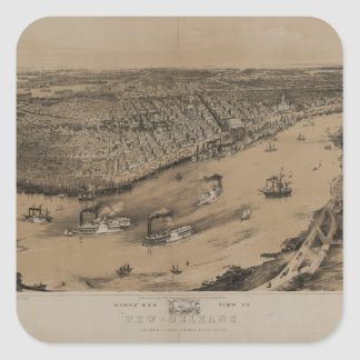 Birds eye view of New Orleans from 1851 Stickers