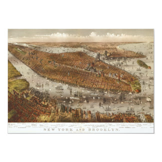 Bird's Eye View of New York and Brooklyn in 1875 Card