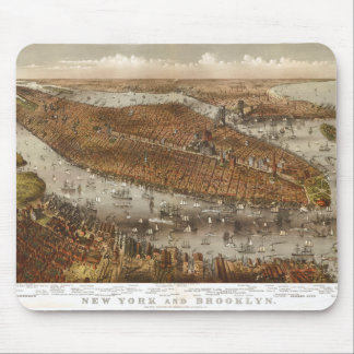 Bird's Eye View of New York and Brooklyn in 1875 Mouse Pad