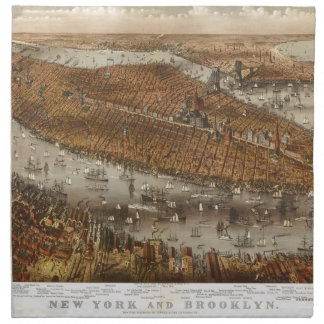 Bird's Eye View of New York and Brooklyn in 1875 Napkin
