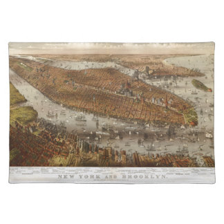 Bird's Eye View of New York and Brooklyn in 1875 Placemat
