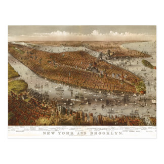 Bird's Eye View of New York and Brooklyn in 1875 Postcard
