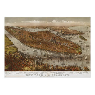 Bird's Eye View of New York and Brooklyn in 1875 Poster