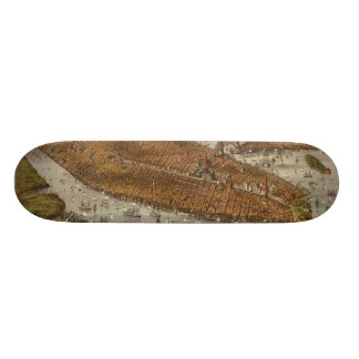 Bird's Eye View of New York and Brooklyn in 1875 Skateboard Deck