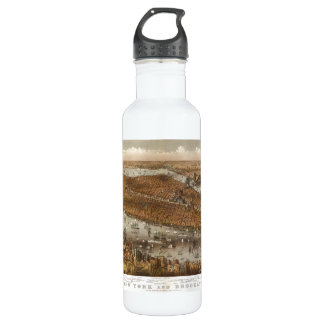 Bird's Eye View of New York and Brooklyn in 1875 Stainless Steel Water Bottle