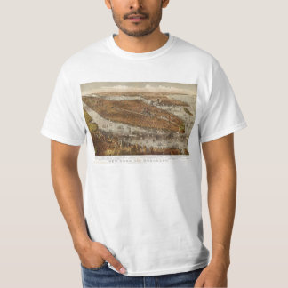 Bird's Eye View of New York and Brooklyn in 1875 T-Shirt