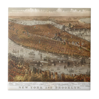 Bird's Eye View of New York and Brooklyn in 1875 Tile