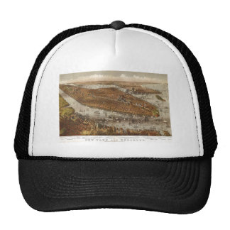 Bird's Eye View of New York and Brooklyn in 1875 Trucker Hat