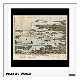 birds eye view of old Boston harbor Wall Decal